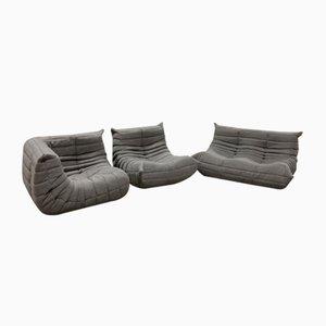 Juego de sofá Togo de tela gris y sofás de dos plazas de Michel Ducaroy para Ligne Roset, años 70