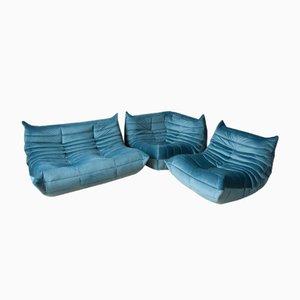Juego de sofá y sofá de dos plazas Togo en azul de Michel Ducaroy para Ligne Roset, años 70