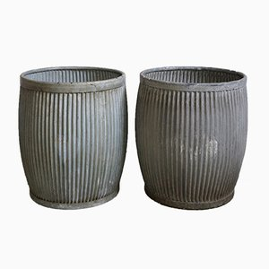 English Zinc Planters, 1930s, Set of 2