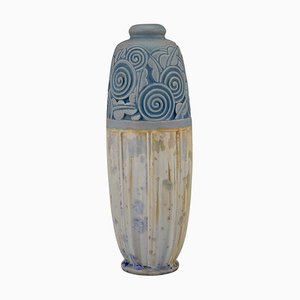Art Deco Ceramic Vase with Stylized Flowers by Gaston Ventrillon for Mougin Nancy, 1920s