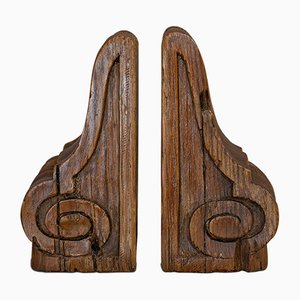 Antique English Pitch Pine Bookends, Set of 2