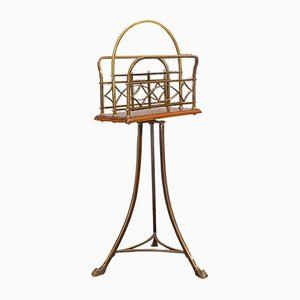 Antique Victorian French Walnut and Brass Magazine Rack
