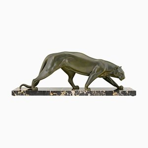 Art Deco French Bronze Panther Sculpture by Irenee Rochard, 1930s