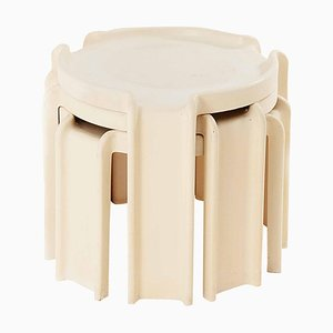 White Nesting Tables by Giotto Stoppino for Kartell, Italy, 1960s