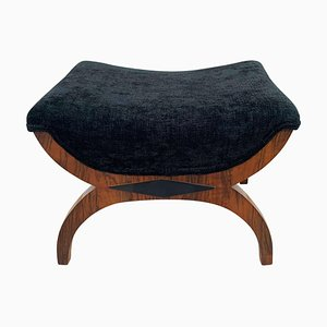 Biedermeier Gondola Stool in Walnut & Black Velvet, South Germany, 1880s