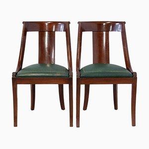 Französische Empire Leder Stühle in Grün, 2er Set