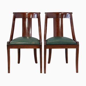 French Empire Green Leather Chairs, Set of 2