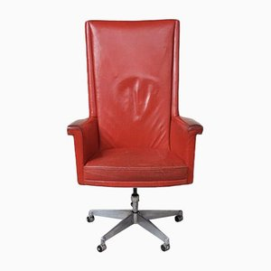 Mid-Century Red Leather Swivel Chair by Howard Keith