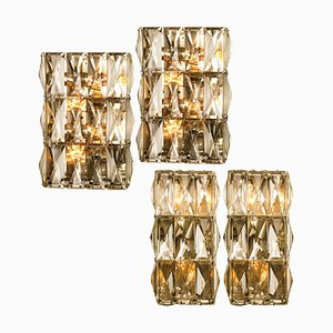 Chrome-Plated and Crystal Glass Wall Light Fixtures from Palwa, 1970s, Set of 4