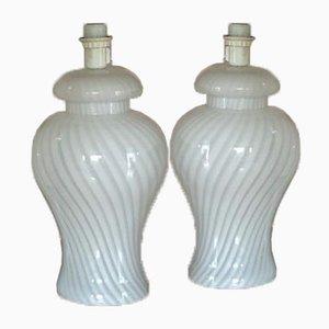 Murano Glass White Swirl Table Lamp, 1960s
