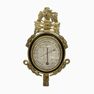 18th Century Louis XVI Barometer in Black Lacquered Wood and Gilt Stucco