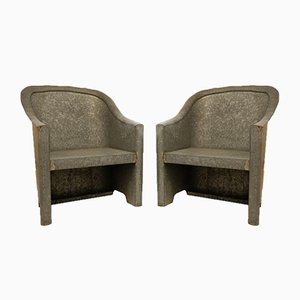 Zinc Garden Armchairs, 1970s, Set of 2