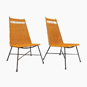 Wrought Iron and Painted Wicker Chairs with Openwork Backrest, 1970s, Set of 2