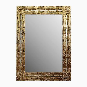 Cast Brass Mirror by Luciano Frigerio, Italy, 1970s