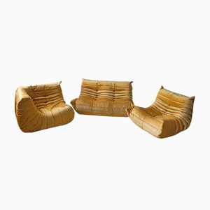 Goldenrod Velvet Togo Armchairs and 2-Seater Sofa Set by Michel Ducaroy for Ligne Roset, 1970s