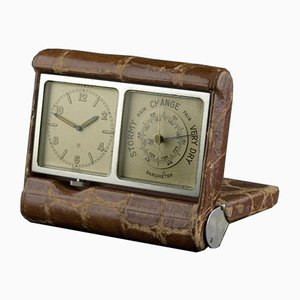 Travel Clock with Barometer from Wohl Angelus, Switzerland, 1930s