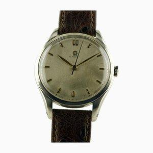Reloj jumbo manual de acero inoxidable enrollable de Omega, Switzerland, años 40