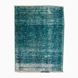 Small Vintage Turkish Distressed Blue Woolen Rug, 1950s