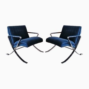 Chrome Plated Steel and Blue Velvet Lounge Chairs from Bernhardt, 1970s, Set of 2