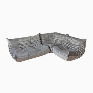 Juego de sofá Togo de terciopelo gris y sofá de dos plazas de Michel Ducaroy para Ligne Roset, años 70