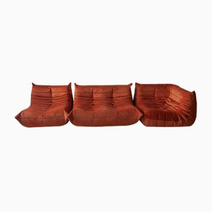 Orange Velvet Togo Armchairs and 2-Seater Sofa Set by Michel Ducaroy for Ligne Roset, 1970s