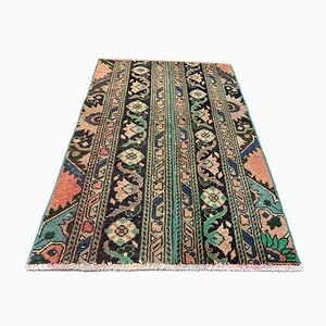 Small Vintage Turkish Distressed Green and Brown Runner Rug, 1960s