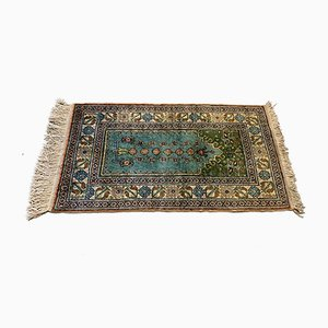 Small Vintage Turkish Blue and Beige Vegan Silk Rug, 1960s