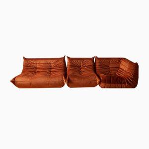 Butacas Togo de terciopelo naranja ámbar y juego de sofás de dos plazas de Michel Ducaroy para Ligne Roset, años 70
