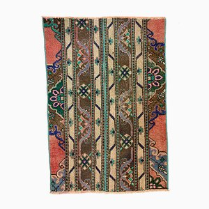 Small Vintage Turkish Distressed Shabby Green and Brown Runner Rug, 1960s