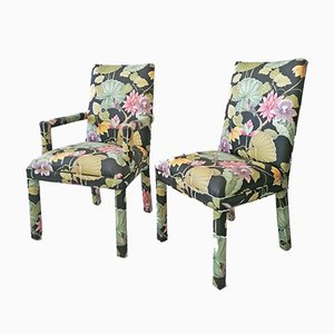 American Tropical Print Fabric Dining Chairs, 1980s, Set of 6