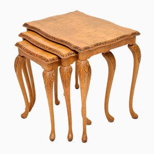 Queen Anne Style Walnut Nesting Tables, 1930s
