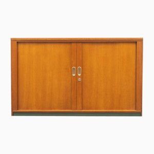 Industrial Style Oak Shutter Cabinet, 1950s