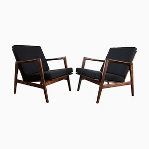 Mid-Century Black Armchairs from Swarzędzkie Fabryki Mebli, 1960s, Set of 2