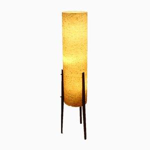 Lampada da terra grande Mid-Century gialla con paralume in fibra di vetro