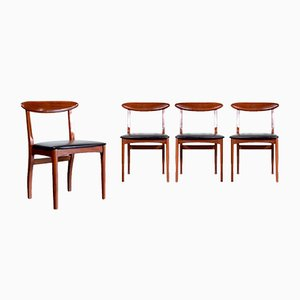 MId-Century Teak and Leatherette Dining Chairs, 1960s, Set of 4
