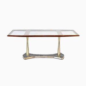 Mid-Century Italian Mahogany, Brass & Marble Dining Table, 1950s