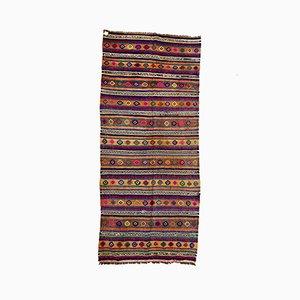 Großer Türkischer Vintage Kelim-Teppich aus Rot, Grün und Schwarz aus Wolle, 1960er