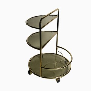 Vintage Tubular Gold Metal and Smoked Glass Trolley, 1970s