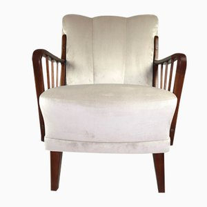 Art Deco German Beige Velvet Armchair, 1960s