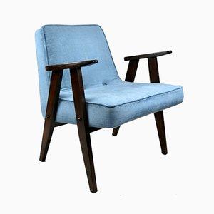 Blue Velvet Model 366 Lounge Chair by Józef Chierowski, 1970s