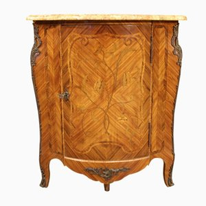 French Inlaid Corner Cabinet with Marble Top, 1960s