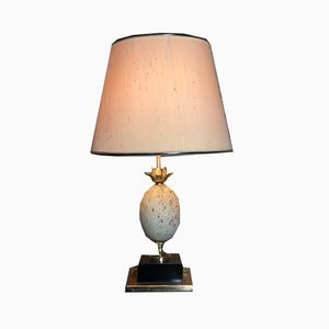 Vintage Travertine and Metal Pineapple Table Lamp, 1970s