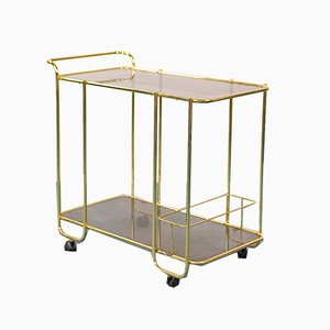 Vintage Brass-Plated Metal and Smoked Glass Trolley, 1970s