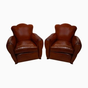 Art Deco French Cloud Back Club Chairs, 1920s, Set of 2