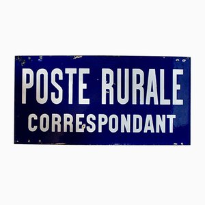 French Enamel Double Sided Poste Rurale Correspondant Sign, 1940s