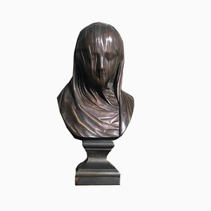 19th Century Terracotta Bust of a Veiled Woman in the Style of Strazza