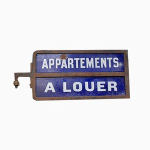 Vintage French Enamel Apartments A Louer Sign, 1940s