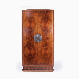 Art Deco French Walnut Cocktail Cabinet, 1920s