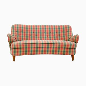 Mid-Century Italian Red, Green, and Yellow Tartan Sofa, 1950s