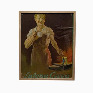 Antique Victorian English Cocoa Advertisement Lutona Poster, 1900s